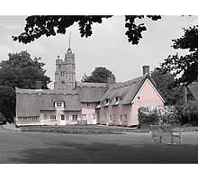 Pink Cottages, Cavendish, Suffolk Photographic Print