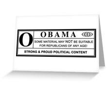 obama warning label Greeting Card