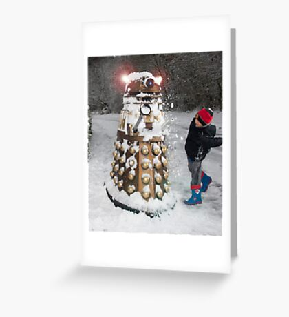 Doctor Who Dalek in Snowball Fight! Greeting Card
