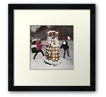Snowball attack for Doctor Who Dalek Framed Print