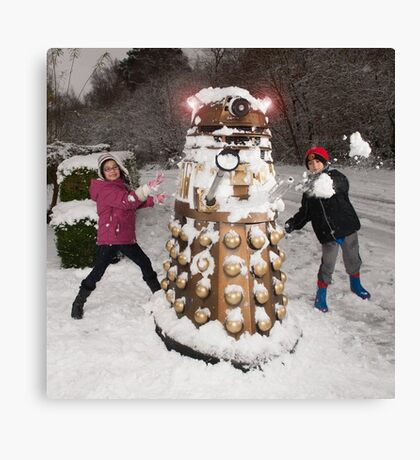 Snowball attack for Doctor Who Dalek Canvas Print