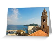 Dubrovnik, The Dominican Monastery Bell Tower and Harbor Greeting Card