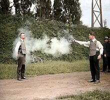 Test of a bulletproof vest by Mads Madsen
