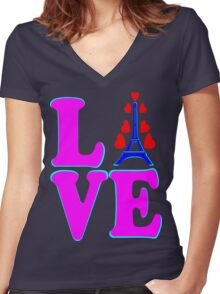 •°♥§Love Paris-Eiffel Tower Fabulous Clothing & Stickers§♥°• Women's Fitted V-Neck T-Shirt