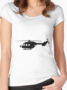 BK117 Helicopter Design in Black on a Sticker/T-Shirt Women's Fitted Scoop T-Shirt
