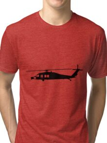 Blackhawk Helicopter Design in Black on a Sticker/T-Shirt v3 Tri-blend T-Shirt