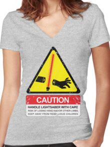 CAUTION: Handle With Care Women's Fitted V-Neck T-Shirt