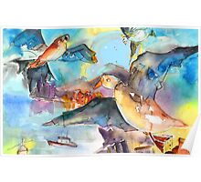 Seagulls in Cinque Terre in italy Poster