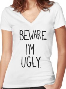 I'M UGLY Women's Fitted V-Neck T-Shirt