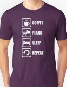 Funny Piano Coffee Sleep Repeat T-Shirt