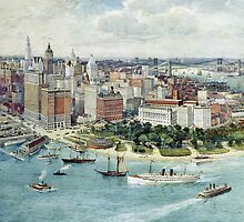 A Bird's Eye View of Lower Manhattan, 1911 (colour litho) by Bridgeman Art Library