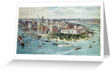 A Bird's Eye View of Lower Manhattan, 1911 (colour litho) by Bridgeman Art Library
