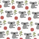 Koala with Red Gum Flowers by MrRock