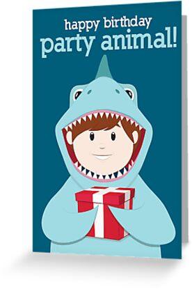 "party animals birthday card shark"" greeting cards by digital art, Birthday card"