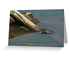 Pool Party Invitation - Turtle on Log Greeting Card