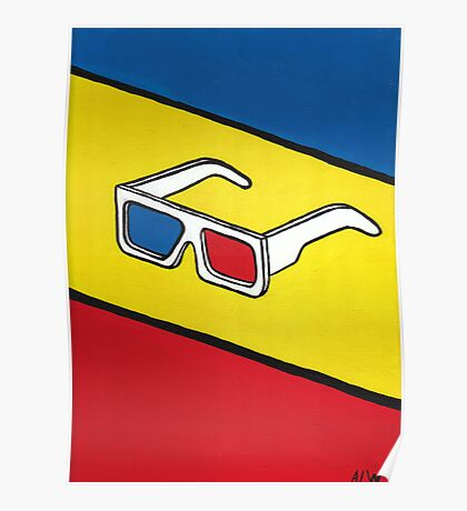 3D Glasses Painting Poster