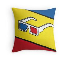3D Glasses Painting Throw Pillow
