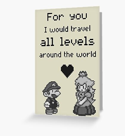 Pixel Mario and Peach Greeting Card