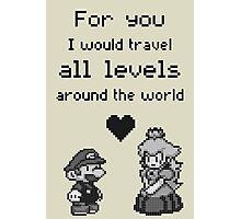 Pixel Mario and Peach Photographic Print