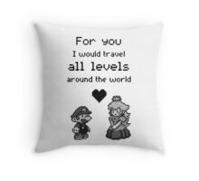 Pixel Mario and Peach Throw Pillow