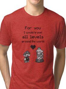 Pixel Mario and Peach Tri-blend T-Shirt