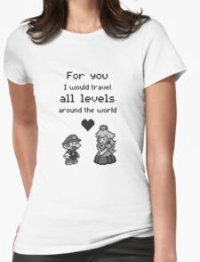 Pixel Mario and Peach Womens Fitted T-Shirt