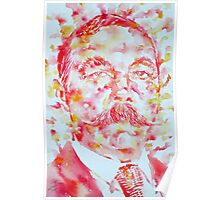 ARTHUR CONAN DOYLE watercolor portrait Poster