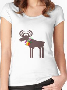 Christmas Moose Women's Fitted Scoop T-Shirt