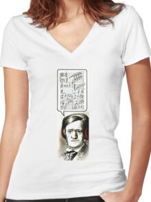 Hipster Richard Wagner Women's Fitted V-Neck T-Shirt