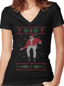 Christmas Bling - Santa Women's Fitted V-Neck T-Shirt
