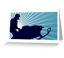 snowmobile blue rays Greeting Card
