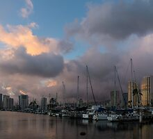 Tropical Storm Skies Over Ala Wai Harbor in Honolulu, Hawaii by Georgia Mizuleva
