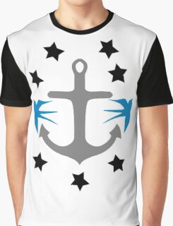 Anchor, Swallows and Stars Graphic T-Shirt