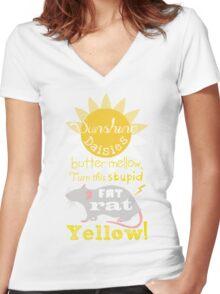 Sunshine daisies butter mellow... Women's Fitted V-Neck T-Shirt