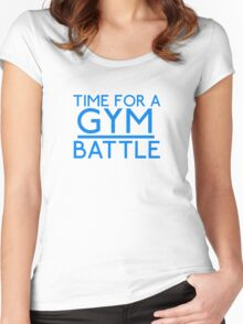 Time For A Gym Battle - Blue Women's Fitted Scoop T-Shirt