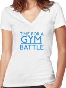 Time For A Gym Battle - Blue Women's Fitted V-Neck T-Shirt