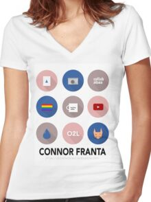 Connor Franta Infographic Women's Fitted V-Neck T-Shirt