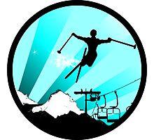ski : powder trail Photographic Print