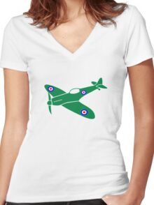 Spitfire Plane Women's Fitted V-Neck T-Shirt