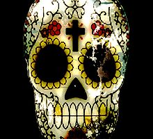 Day of the Dead Sugar Skull Grunge Design by Val  Brackenridge