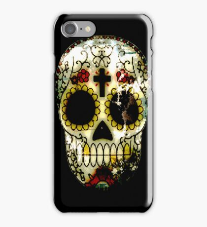 Day of the Dead Sugar Skull Grunge Design iPhone Case/Skin