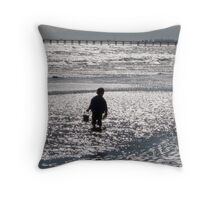 Glittering Sea! Fort Glanville, winter. Adelaide Beach. Sth. Aust. Throw Pillow