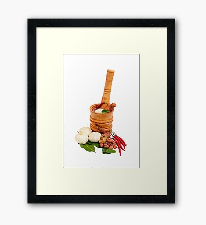 Wood Mortar with spice and vegetables Framed Print