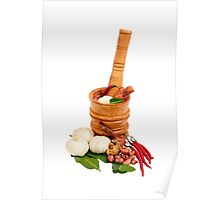 Wood Mortar with spice and vegetables Poster
