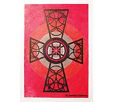 Red and Black Celtic Cross Photographic Print