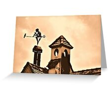 Chimney Ornament with Flutist and Bird Greeting Card