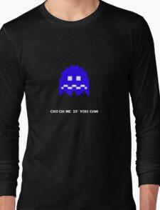 Blue Pac-man Ghost Long Sleeve T-Shirt