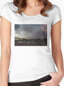 Tropical Sky and Palm Trees - Hawaiian Sunset Women's Fitted Scoop T-Shirt