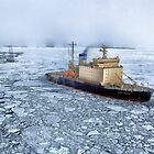 HDR Image of Boat or ship in the arctic sea ocean water antarctica winter snow by spitfirebbmf
