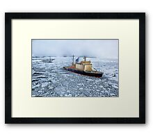HDR Image of Boat or ship in the arctic sea ocean water antarctica winter snow Framed Print